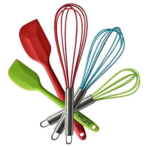 TTLIFE Stainless Steel Silicone Kitchen Utensils Cooking Set Heat Resistant Utensils Cookware 5-Pieces - 3 Silicone Whisk Set and 2 Silicone Spatula Set for Blending, Whisking, Beating & Stirring (Silicone Whisk And Spatula Set compare prices)