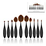 Makeup Brushes Set StarVast 10PCS Oval Professional Multi Face Powder Brushes Beauty Tools Kit with Foundation, Cheek Blushes/Contour, Lip/Brow Color, Eyeliner/Eyeshadow and Nose Shadow Brushes-Black