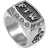 Stainless Steel FTW Biker Rider Middle Finger Ring (8)