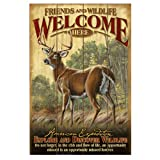 American Expedition Wooden Welcome Sign, Whitetail Deer