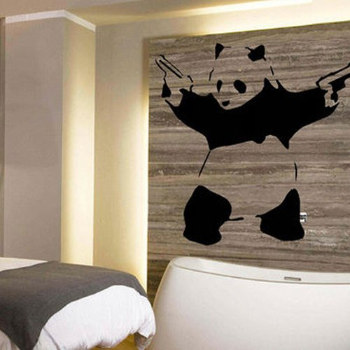 """Colorfulhall 23.6"""" X 45.3"""" Wall Art Decal Sticker Crazy Panda Shoot Gun For Boys & Girls Room Decoration Wall Decal Decor Wall Sticker front-740079"""