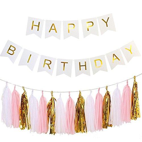 ailiebhaus happy birthday deko set flaggenkette banner mit quaste girlande diy tassels gold. Black Bedroom Furniture Sets. Home Design Ideas