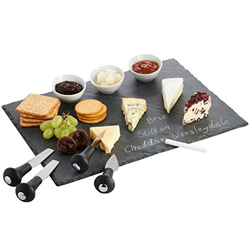 VonShef Cheese Tray and Dipping Accessories with Slate Tray for Cheese with Knives and Dishes (Cheese Board Tray compare prices)