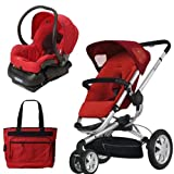 Quinny BUZ3TRSTMR1 Buzz 3 Travel System in Red with Diaper Bag