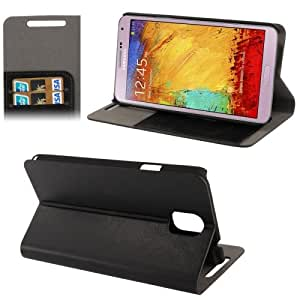 Crazy Horse Texture Hard Leather Case with Credit Card Slots & Holder for Samsung Galaxy Note 3 N9000 in Black