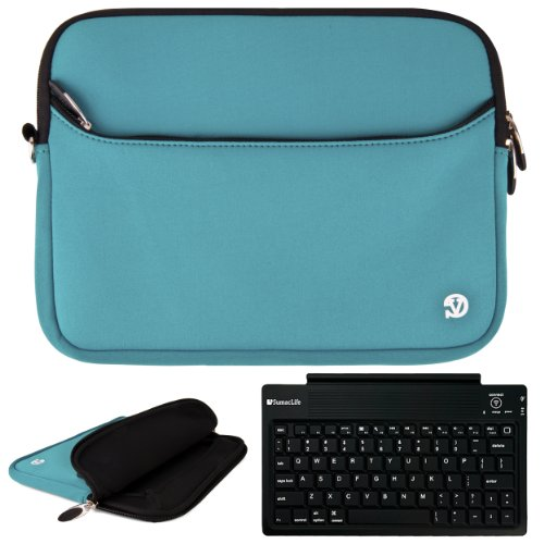 "Sky Blue Vg Neoprene Sleeve Cover For Barnes & Noble Nook Hd+ Slate 9"" Tablet (16Gb 32Gb) + Sumaclife Bluetooth Wireless Keyboard + Sumaclife Tm Wisdom Courage Wristband front-1048064"