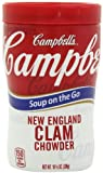 Campbells New England Clam Chowder Soup on the Go, 10.75 Ounce Microwavable Cups (Pack of 8)