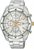 Seiko Men&#8217;s SNDC45 Chronograph Brushed and Polished Link Bracelet Silver Dial Watch
