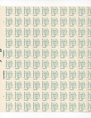 Richard Russell Sheet of 100 x 10 Cent US Postage Stamps NEW Scot 1853
