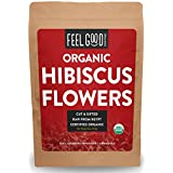 Organic Hibiscus Flowers - Cut & Sifted - 16oz Resealable Bag (1lb) - 100% Raw From Egypt - by Feel Good Organics