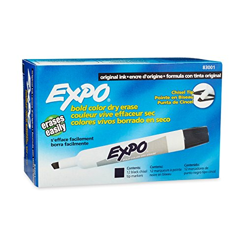 EXPO Original Dry Erase Markers, Chisel Tip, Black, 12-Count