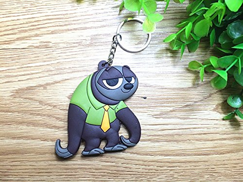 Key buckle Mini vinyl Keychain Princess Doll hanging buckle strap Lovely rabbit Judy Hopps and Fox Nick Smart-01 (Sloth)