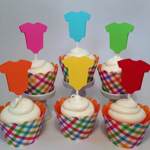 Piece Of Cake Parties Baby Shower Onesie Cupcake Topper, Somewhere Over The Rainbow, Set Of 12 front-48580