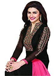 Prachi Desai Black & Pink Long Straight Suit