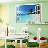 KOREL® Large Removable Beach Sea 3D Window Decal WALL STICKER Home Decor Exotic Beach View Art Wallpaper Mural