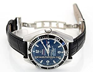 20mm Classic Black Crocodile Grain' Leather Watch Strap butterfly deployment clasp For Omega Seamaster Planet Ocean