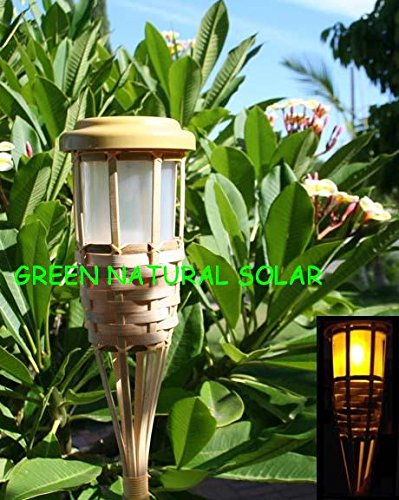 4-Pack Solar Bamboo Tiki Torch Landscape Lights With 5 Amber Leds And Double Batteries For Each Light -Green Natural Solar