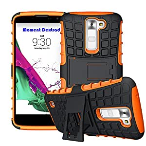 LG K7 Case,LG Tribute 5 Case,Moment Dextrad Built-in Kickstand Rugged Dual Layer Defender protection 2-Piece Style Hybrid Shockproof Case Cover LG K7 / LG Tribute 5 (Orange)