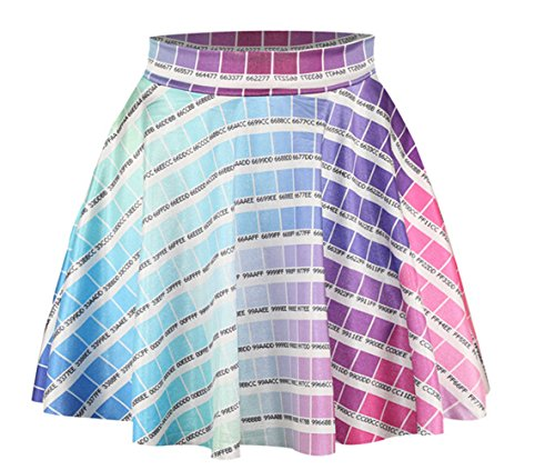 AZIZY-Womens-Colourful-Pattern-Digital-Print-Stretchy-Pleated-Skater-Mini-Skirt