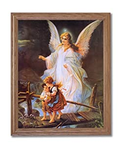 Guardian Angel With Children On Bridge Religious Wall Picture Oak Framed Art Print