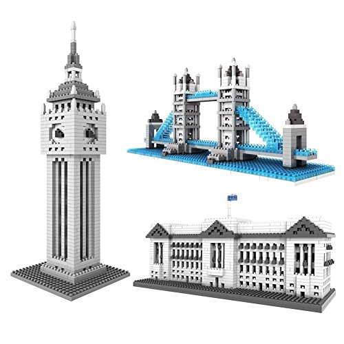 LOZ British Great Architecture Set Pack of 3 Buckingham Palace London Bridge Tower Big Ben Nano block Educational Toy 2980pcs