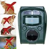 Solar Katzenschreck Ultraschall Tiervertreiber Vogelschreck Wasserdicht Hundeschreck mit LED Blinklicht Marderschreck Waschbärvertreiber mit Alu-Erdspieß im Garten und in der Garage(Grün)-Anglink