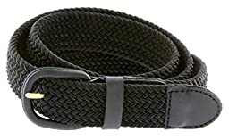 Elastic Stretch Belt With Matching Leather Covered Buckle-Black-4XL