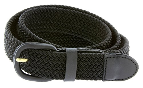 "Braided Woven Elastic Stretch Belt With Matching Leather Covered Buckle (M(34-36"") 43.5"" Total Length, Black)"