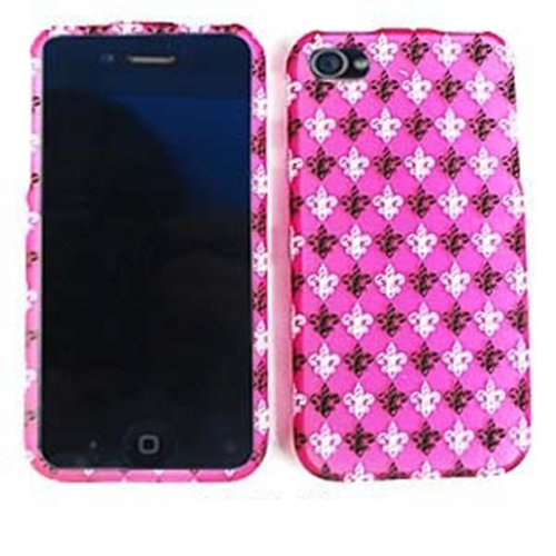 For Apple Iphone 4 4s Saints Fleur De Lis Pink Matte Texture Cover Case Accessory Picture