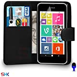 Nokia Lumia 530 Premium Leather Black Wallet Flip Case Cover Pouch + Mini Touch Stylus Pen + Screen Protector & Polishing Cloth BY SHUKAN, (BLACK)