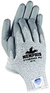 Memphis Glove 9672XXL Dyneema 13-Gauge Polyurethane Salt and Pepper Shell Gloves with Palm and Finger Coating, Gray, 2X-Large, 1-Pair