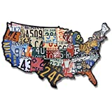 "Plasma Cut Steel USA License Plate Map (35"" x 24"")"