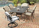 Home Styles 5564-318 Covington 7-Piece Dining Set with Table and Cushioned Arm Chairs, Chocolate Metallic Finish