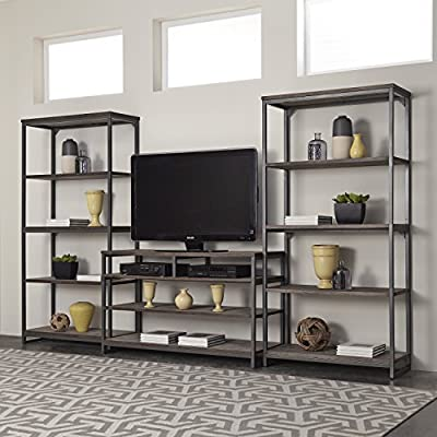 Home Styles 5053-34 Barnside Metro 3 Piece Entertainment Center, Gray Finish
