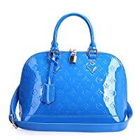 Fineplus New Waterproof Cow Patent Leather Dual-Zipper Tote Bag For Womens Blue