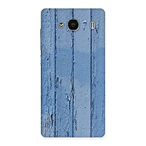 Ajay Enterprises Cool Blue Wood Wall Back Case Cover for Redmi 2 Prime