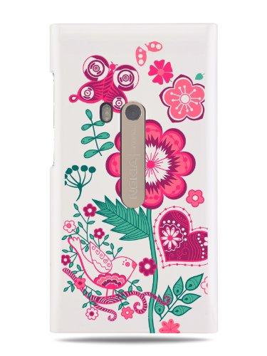 """Grüv Premium Case """"Flowers Heart And Butterfly Digital Art"""" Design For Nokia N9 (Best Quality Designer Print On White Hard Cover)"""