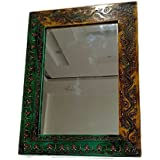 Shivay Arts Wooden Handcrafted Fine Embossed Wall Mirror Wall Decor Wall Hanging