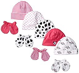 Gerber Baby-Girls Newborn Dalmatian Caps and Mitten Bundle, Dalmatian, New Born (Pack of 5 and 4)