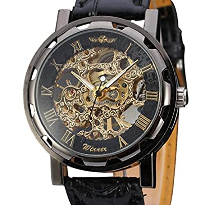 Sandistore Classic Men's Black Leather Dial Skeleton Mechanical Sport Army Wrist Watch