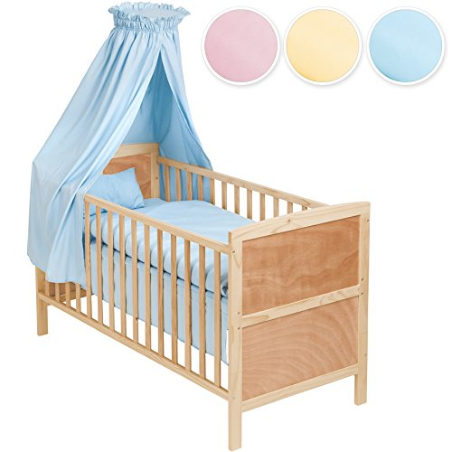 tectake babybett komplettset mit himmel 3in1 diverse farben blau nr 400916. Black Bedroom Furniture Sets. Home Design Ideas