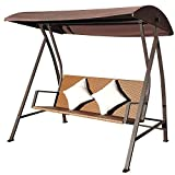 Outsunny-Hollywoodschaukel-3-Sitzer-Schaukel-Polyrattan-Eisen-mit-Kissen-belastbar-bis-360-kg-neu-braun