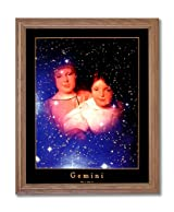 Gemini Twin Girls Zodiac Sign Astrology Home Decor Wall Picture Oak Framed Art Print