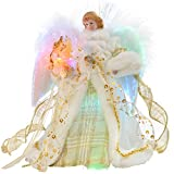WeRChristmas-30-cm-Fibre-Optic-Christmas-Tree-Top-Topper-Angel-with-Feather-Wings-Cream-Gold