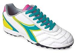 Diadora Women\'s Capitano LT Soccer Turf Shoes, White/Teal, 6 M US
