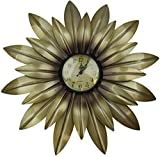 Lulu Decor, Gold Daisy Wall Clock Decorative Metal Wall Clock, Frame Size 19 , Perfect for Housewarming Gift.