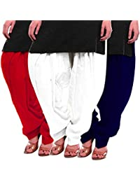 Women's Red White-Blue Cotton Patiala Salwar