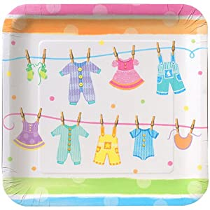 com cp baby shower square paper plates baby clothes party plates