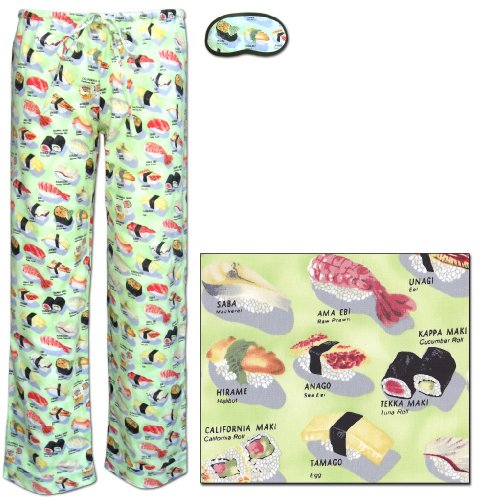 The Cat's Pajamas Wasabi Green Sushi Women's Cotton Pajama Pant small