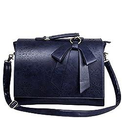 ECOSUSI Ladies Faux Leather Briefcase Shoulder Laptop Messenger Bags Satchel Bag Blue Fit 14